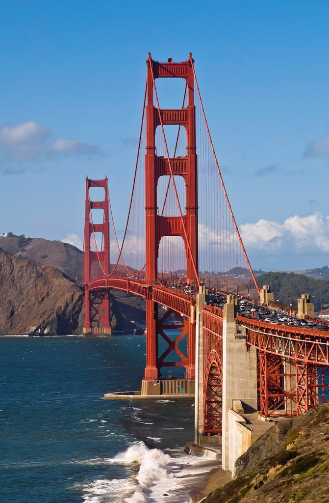 Stock Photo: 1566-986525 The Golden Gate Bridge ship leaving San Francisco, California, USA