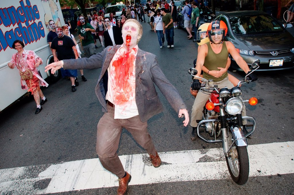 Stock Photo: 1566-987138 A zombie at the NYC Zombie Crawl, May 30, 2010  New York City, NY, USA