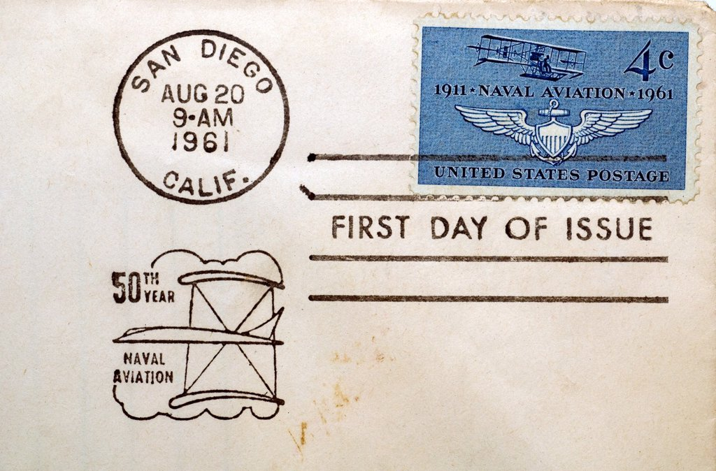 First day of issue postage cancellations  1961 Naval Aviation  US commemorative postage stamps : Stock Photo