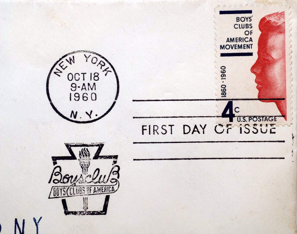 First day of issue postage cancellations  1960 Boys´ Clubs of America  US commemorative postage stamps : Stock Photo