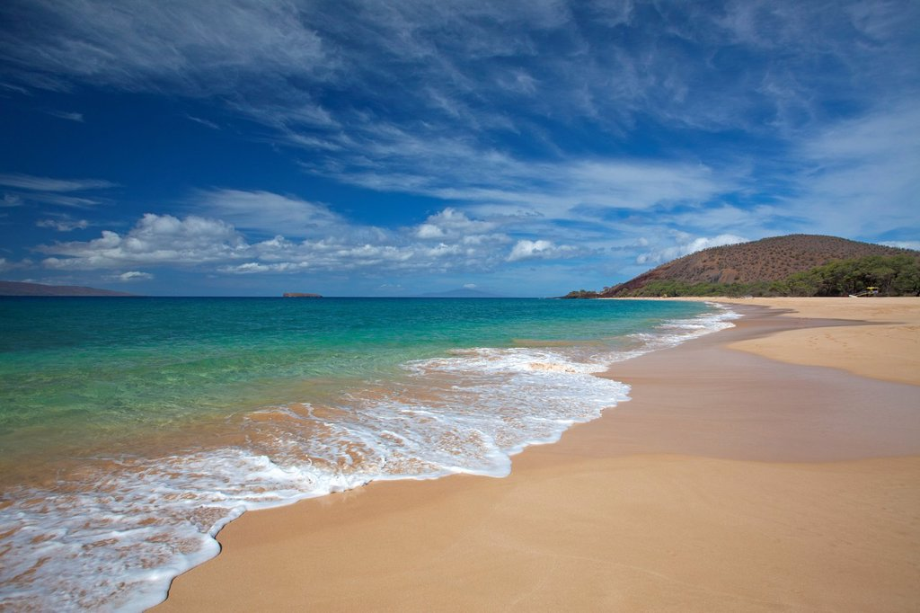 Stock Photo: 1566-989172 Beautiful clouds at Big Beach, Makena, Maui, Hawaii
