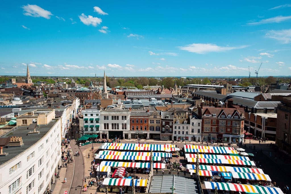 Aerial view of Market Square and surrounding area  Cambridge, England : Stock Photo