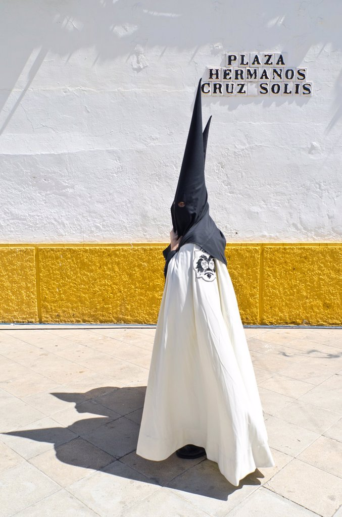 Stock Photo: 1566-989338 El Cachorro brotherhood Penitents in Seville during Holy week celebration, Andalusia, Spain, Europe
