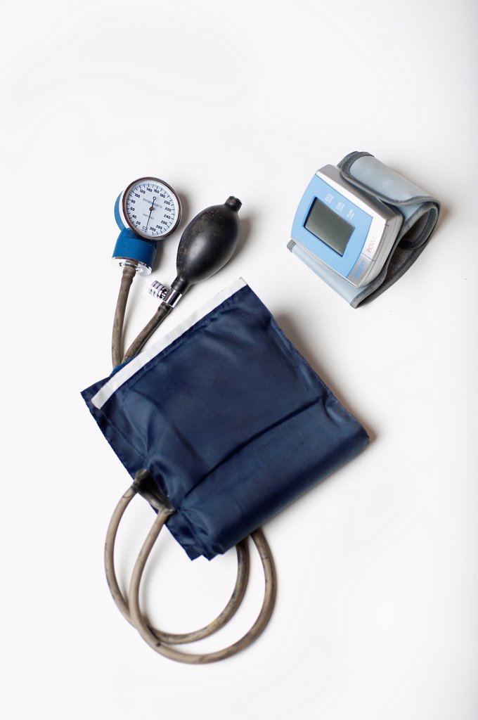 Home and professional sphygmomanometer blood pressure measuring devices : Stock Photo