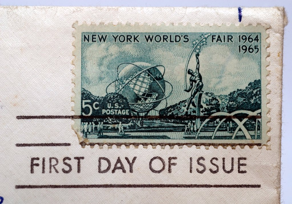 Stock Photo: 1566-989410 First day of issue postage cancellations  1964-1965 New York World´s Fair  US commemorative postage stamps