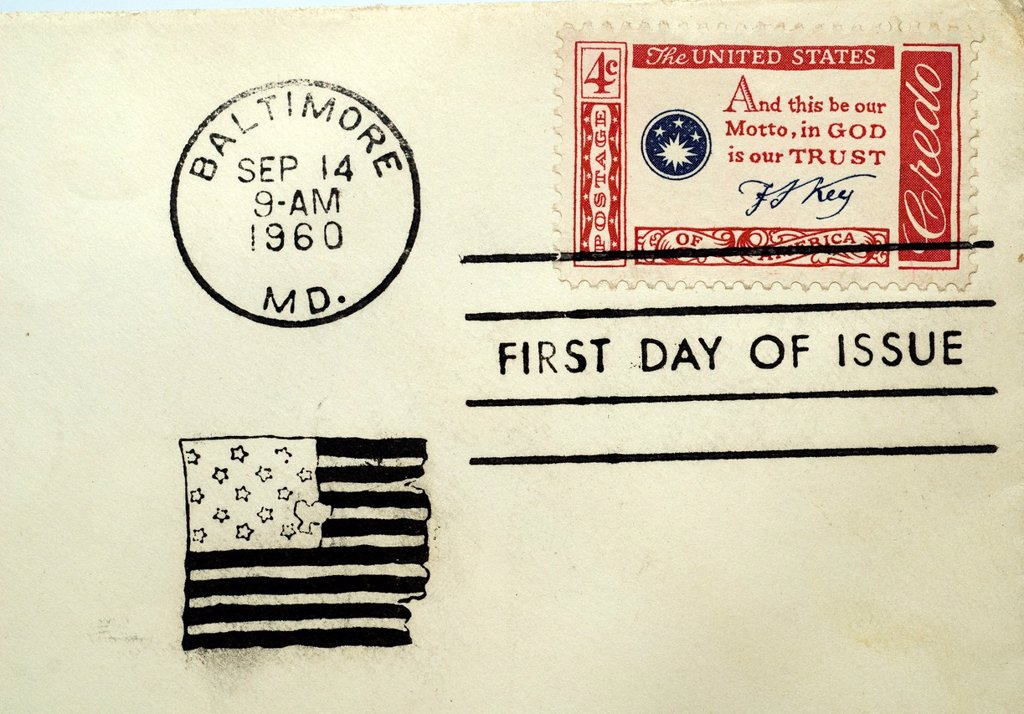 Stock Photo: 1566-989412 First day of issue postage cancellations 1960 Francis Scott Key, In God We Trust  US commemorative postage stamps