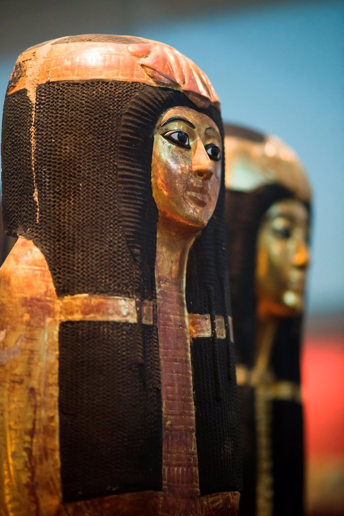 Stock Photo: 1566-989480 Inner wooden coffin of Henutmehyt, covered in gold leaf  From the tomb of Henutmehyt  Thebes  19th Dynasty