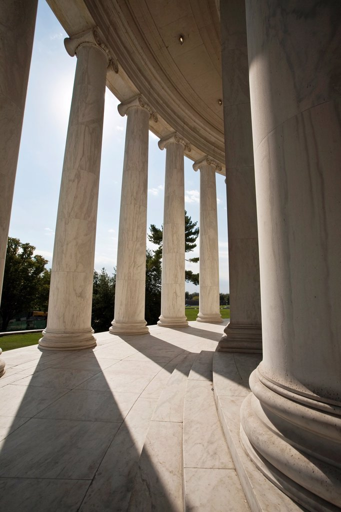 Marble columns create a shadow pattern at the Jefferson Memorial : Stock Photo