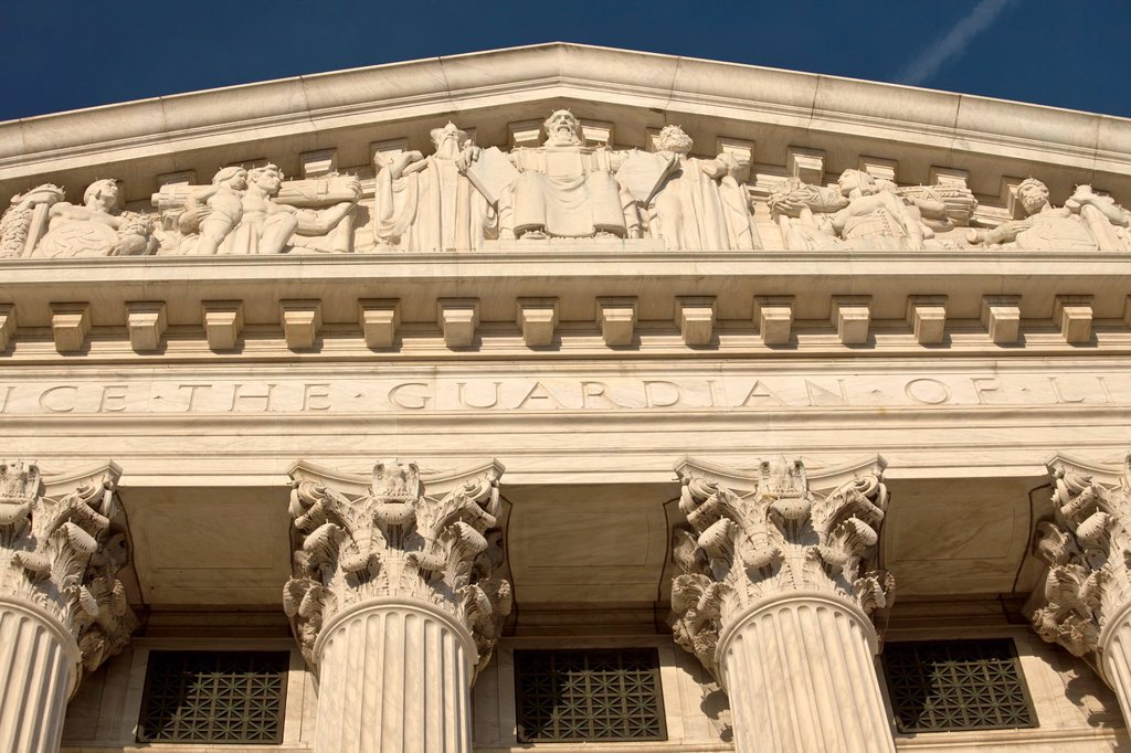 Stock Photo: 1566-989812 West facade of the US Supreme Court on Capitol Hill, Washington D.C., USA