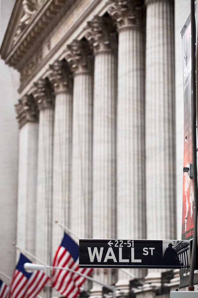 Stock Photo: 1566-990142 Wall Street sign in front of New York Stock Exchange in Manhattan, New York City, United States of America