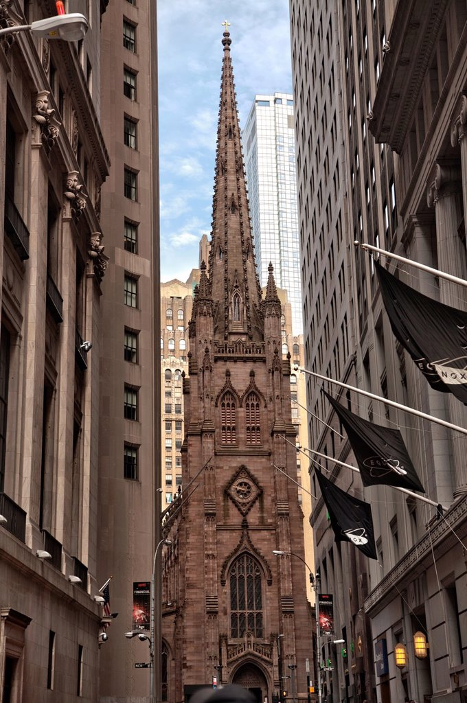 Stock Photo: 1566-990150 Trinity church at 79 Broadway near Wall Street in Manhattan, New York City, United States of America