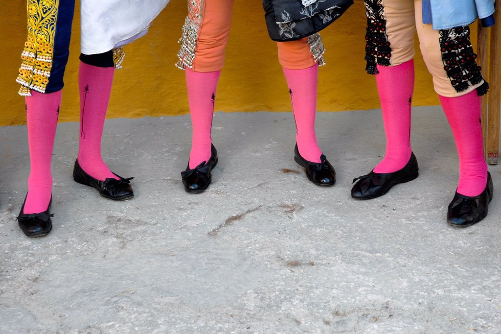 A detail of Spanish matadors´ knee socks Traje de luces at the bullring in in Fuengirola, Spain, 28 April 2007 : Stock Photo