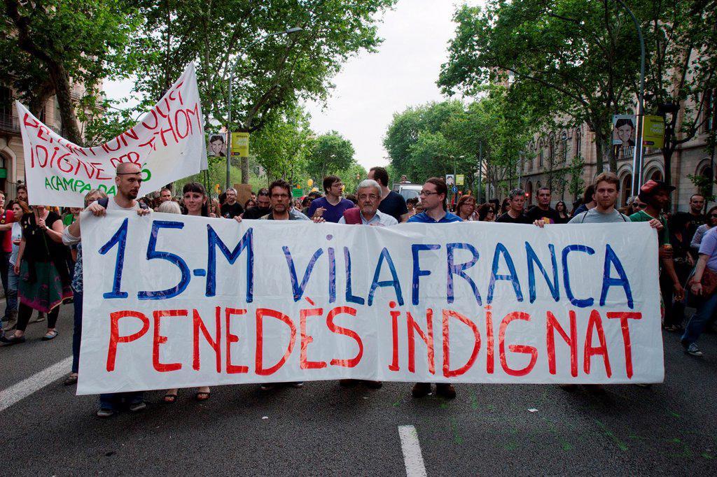 Stock Photo: 1566-991311 12-05-2012, 15M anniversary demonstration, Barcelona, Spain
