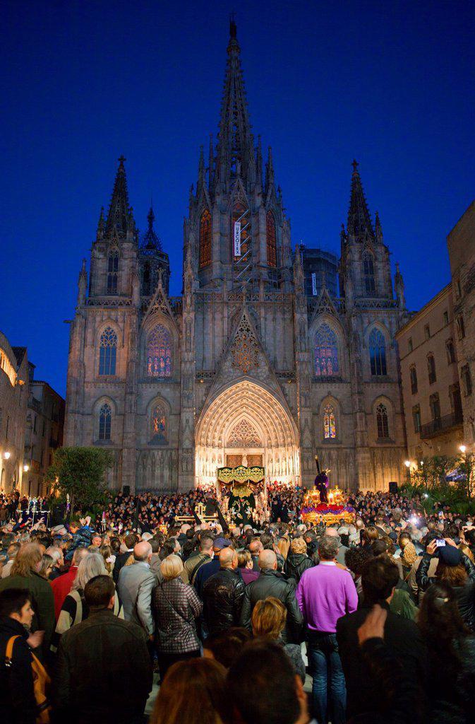 Processions,Good Friday, Easter week,Avinguda de la catedral,Barcelona, Catalonia, Spain : Stock Photo