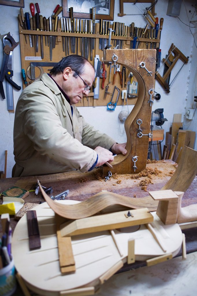 Stock Photo: 1566-991572 Workshop of Andrés Dominguez,luthier,Guitar maker Calle Covadonga 9  Triana quarter,Sevilla,Spain