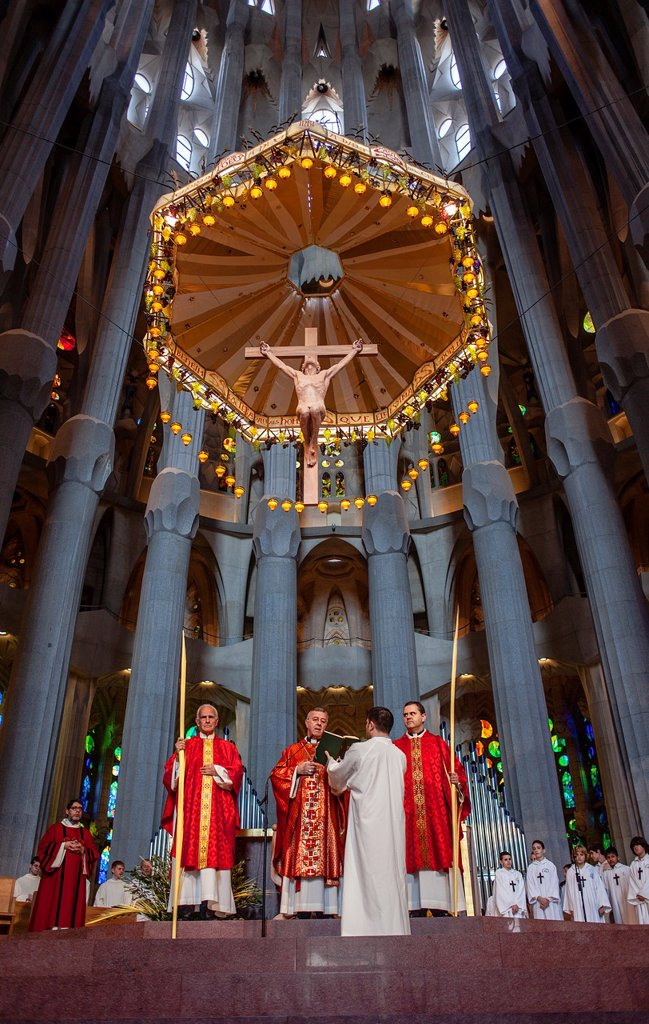 Mass,Palm Sunday Interior of Basilica Sagrada Familia, Barcelona, Catalonia, Spain : Stock Photo