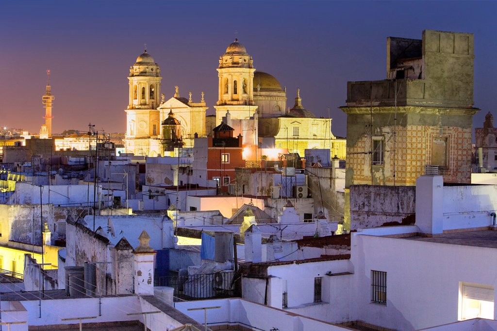 Stock Photo: 1566-991586 Skyline of Cádiz, Cathedral and viewpoint tower Cádiz, Andalusia, Spain