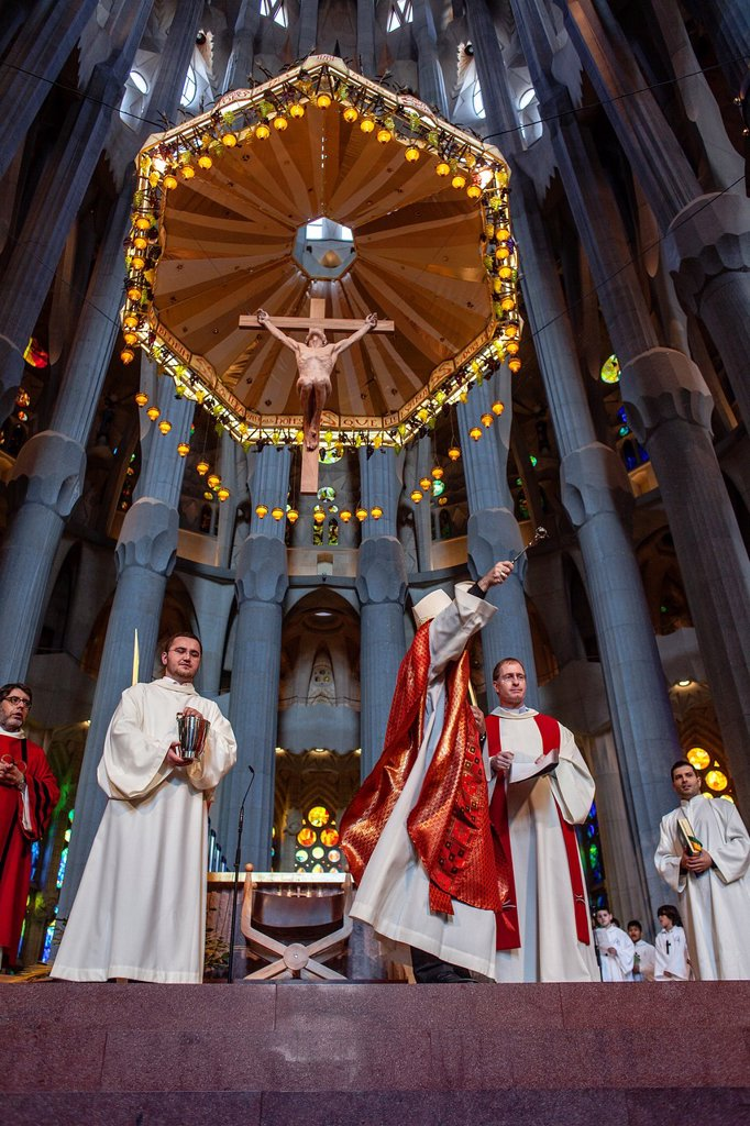 Bishop blessing the palms,mass,Palm Sunday Interior of Basilica Sagrada Familia, Barcelona, Catalonia, Spain : Stock Photo