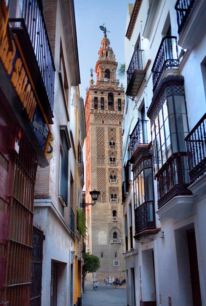 Stock Photo: 1566-991594 Cathedral,Giralda tower from Placentines street,Sevilla,Andalucía,Spain