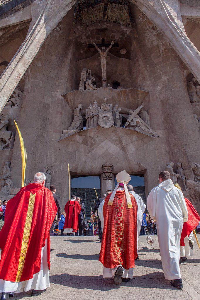 Stock Photo: 1566-991600 mass of Palm Sunday Passion facade,exterior of Basilica Sagrada Familia, Barcelona, Catalonia, Spain