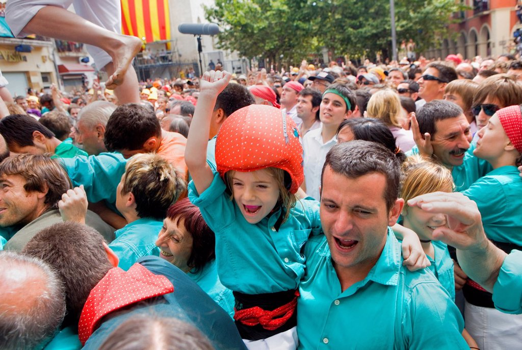 Stock Photo: 1566-991607 Celebrating a great success Castellers de Vilafranca ´Castellers´ is a Catalan tradition  Vilafranca del Penedès  Barcelona province, Spain