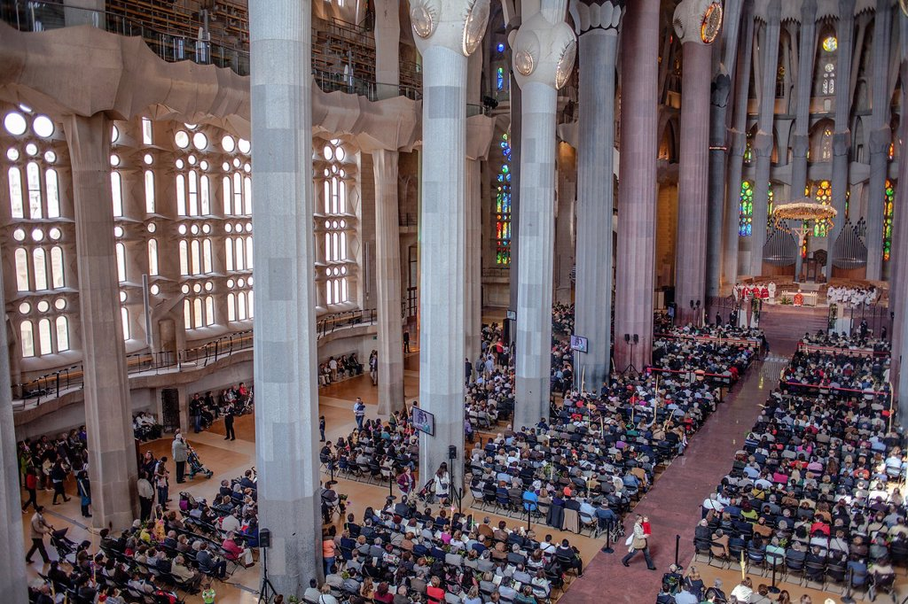 Mass,Interior of Basilica Sagrada Familia,nave, Barcelona, Catalonia, Spain : Stock Photo