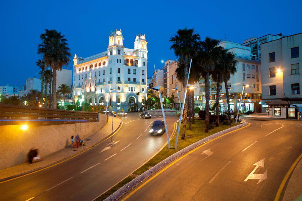 Stock Photo: 1566-991737 Plaza de la Constitucion Roundabout and Casa Trujillo in background Ceuta  Spain