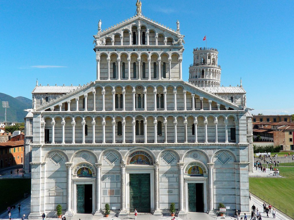 Stock Photo: 1566-991986 Pisa Italy  Facade of the Duomo of Pisa Square of Miracles