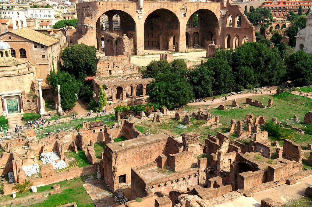 Rome Italy  Panoramic view of Roman Forum in the historical center of Rome : Stock Photo