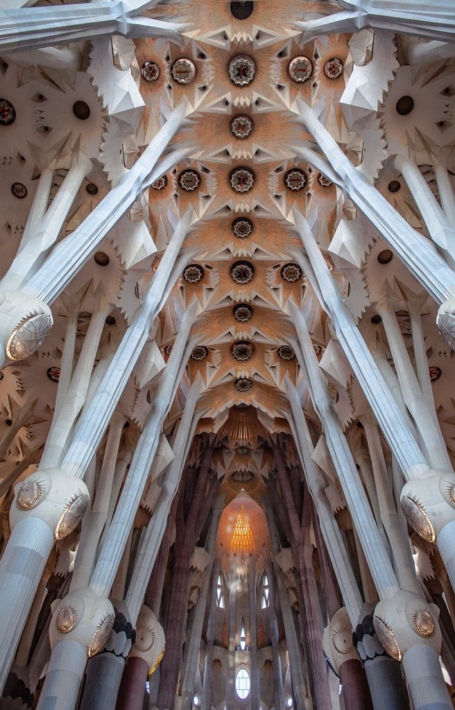 Stock Photo: 1566-992108 Interior of Basilica Sagrada Familia,nave, Barcelona, Catalonia, Spain