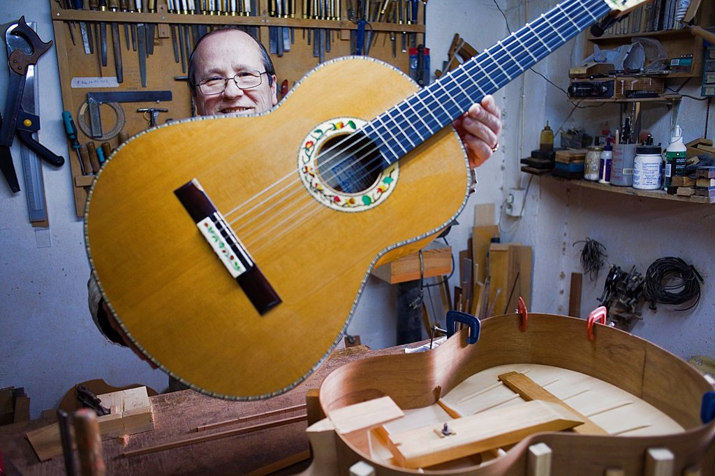 Stock Photo: 1566-992121 Workshop of Andrés Dominguez,luthier,Guitar maker Calle Covadonga 9  Triana quarter,Sevilla,Spain