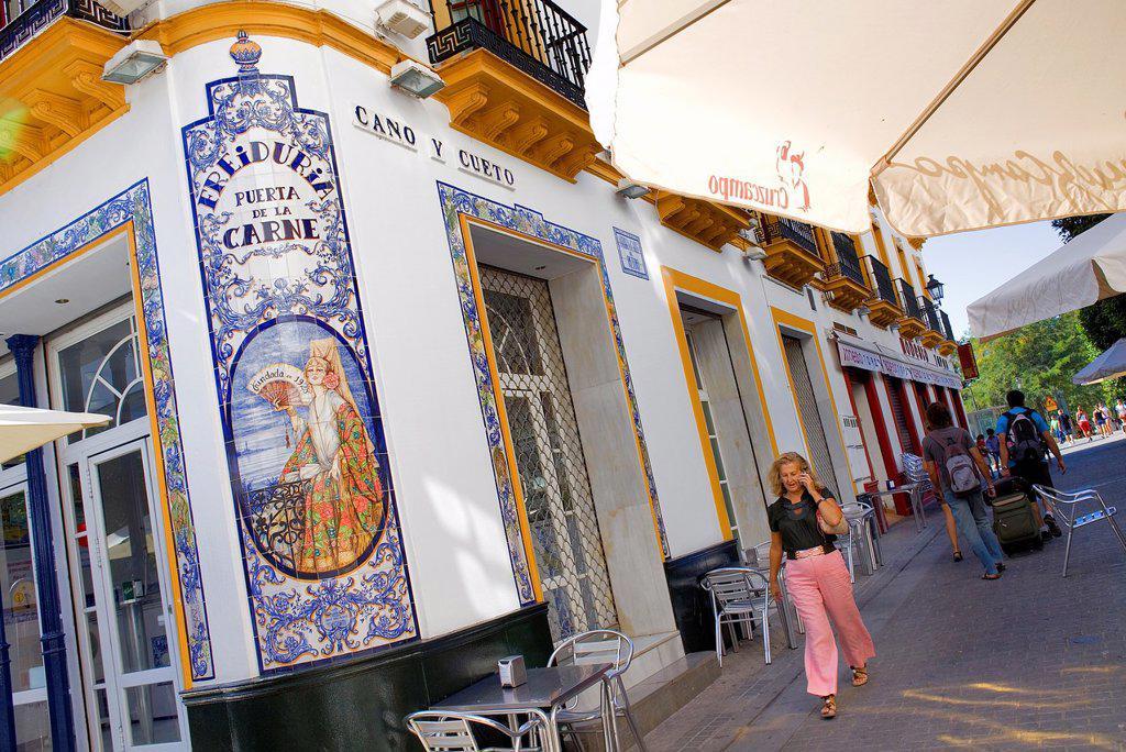 Stock Photo: 1566-992126 Freiduría Puerta de la Carne, in Cano y cuento street,Sevilla,Andalucía,Spain