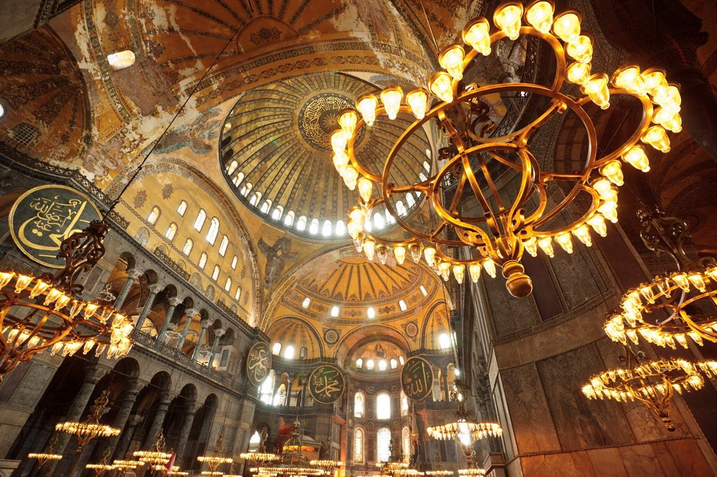 Stock Photo: 1566-992454 Santa Sofia, Church of Holy Wisdom, VI century, Sultanahmet, Istanbul, Turkey Asia