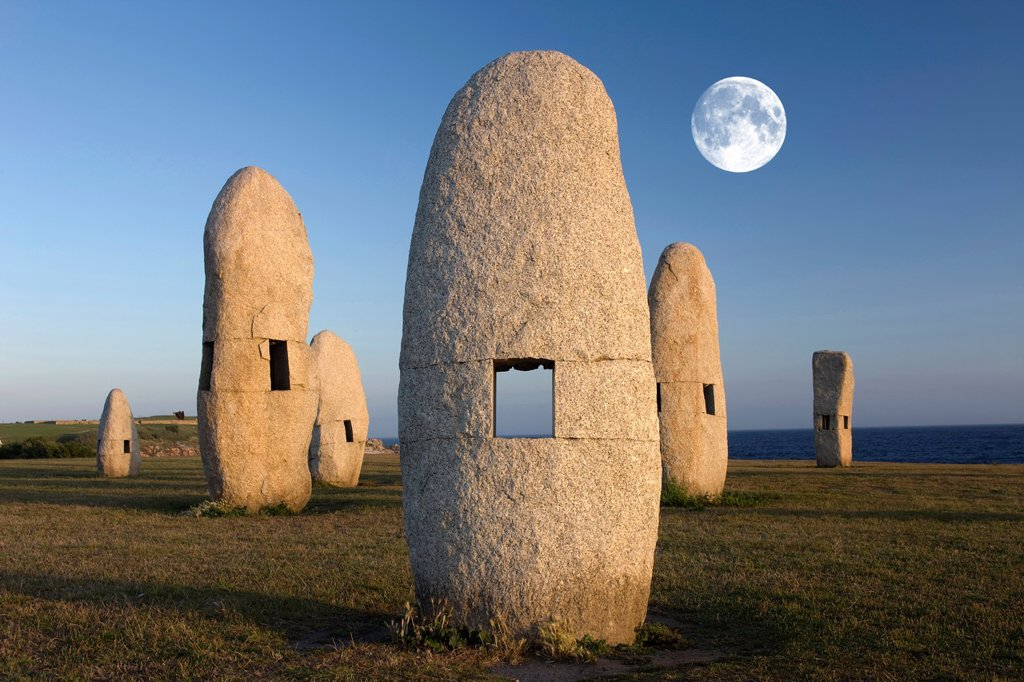 Stock Photo: 1566-993423 MEHIRS STANDING STONES MONUMENT PASEO DOS MENHIRES SCULPTURE PARK LA CORUNA GALICIA SPAIN