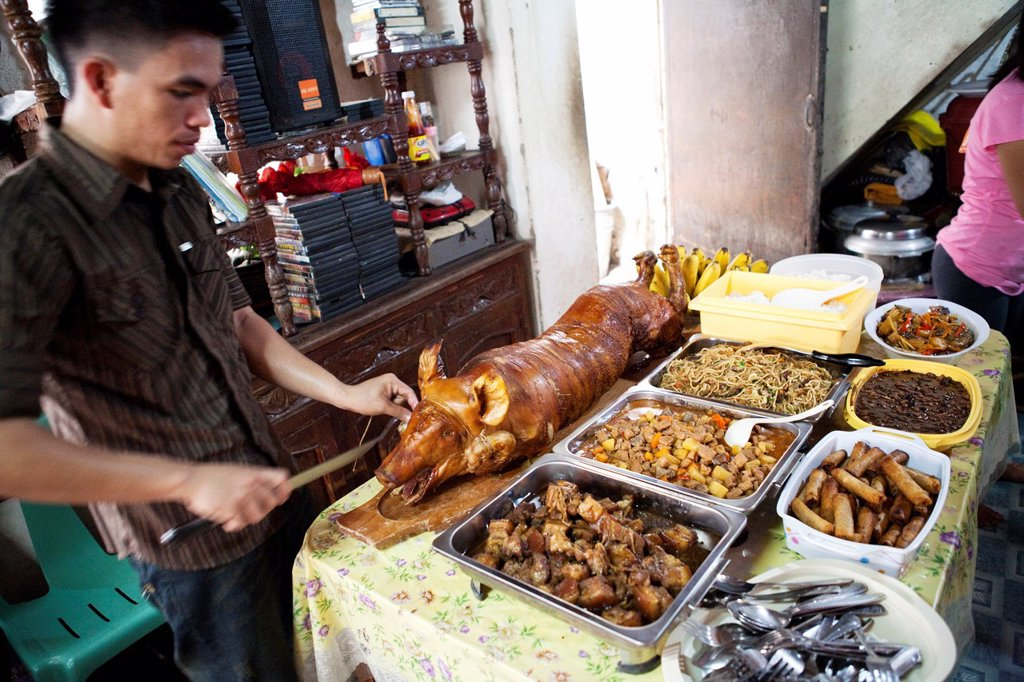 Stock Photo: 1566-993621 Traditional food on offer during a baptism party at a filipino family house  Lapu-Lapu City, Metro Cebu, Mactan Island, Visayas, Philippines
