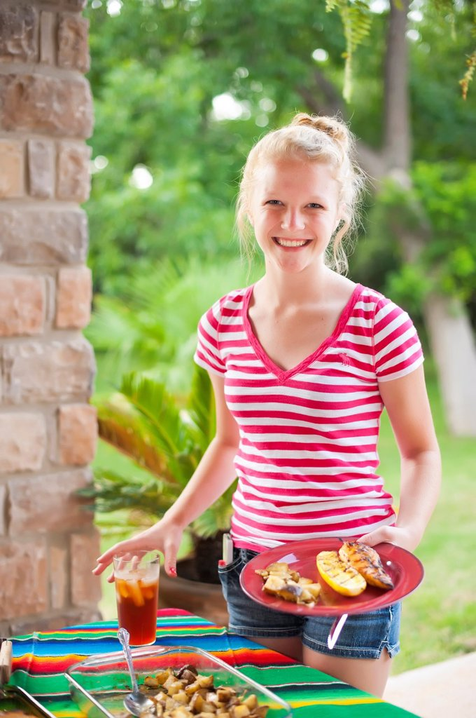 American family backyard barbecue : Stock Photo