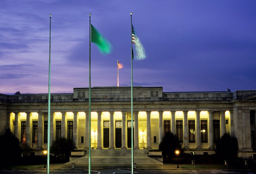 Justice Building at dusk, Olympia, Washington : Stock Photo
