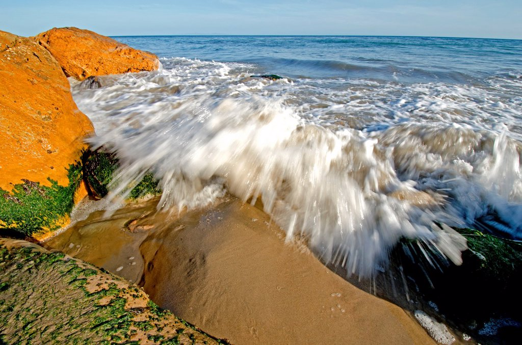 Stock Photo: 1566-994252 Santa Barbara, Surf and rocks at sunset at Arroyo Hondo Beach on The Pacific Ocean near the city of Santa Barbara in southern California