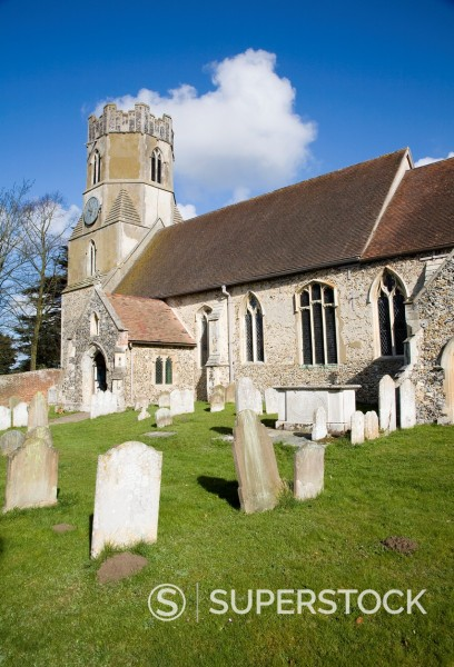 All Saints parish church Easton village, Suffolk, England : Stock Photo