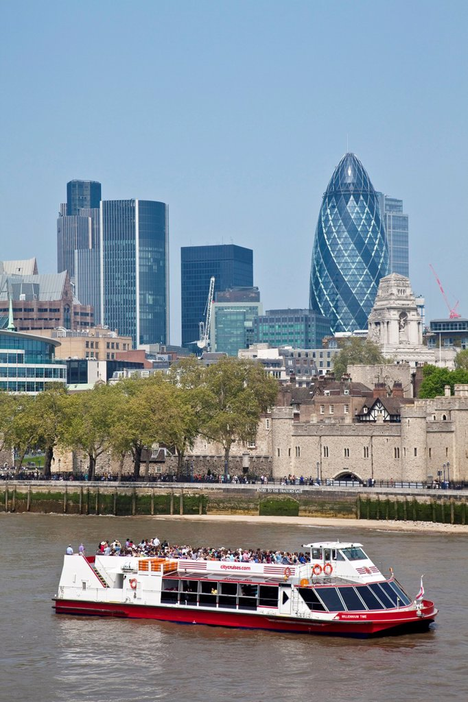 Stock Photo: 1566-994996 The River Thames and City Skyline, London, England