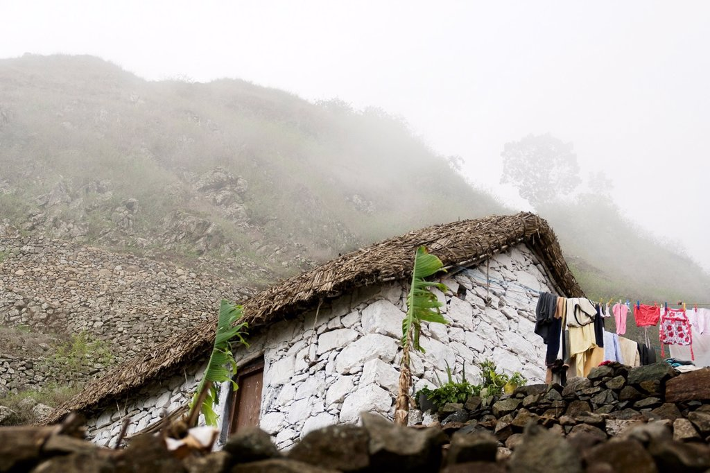 A typical white rural stone house, Paul valley, Santo Antão island, Cape Verde archipelago, Africa : Stock Photo