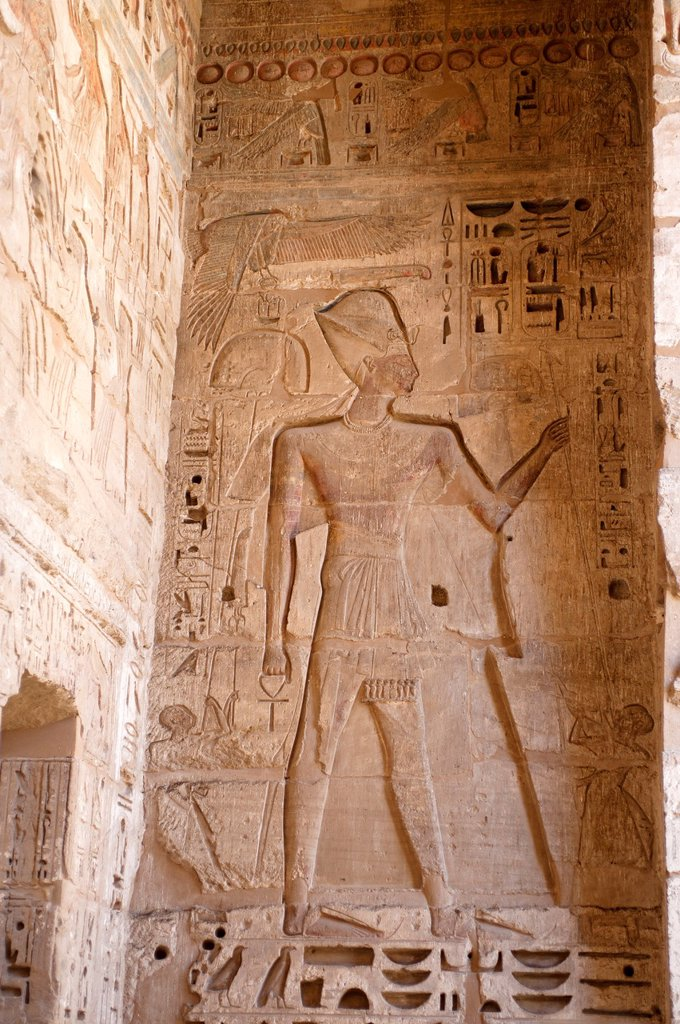 Stock Photo: 1566-996706 The Pharaoh Ramses III with Khepresh and Key of Life  Medinet Habu Temple, Luxor, Egypt