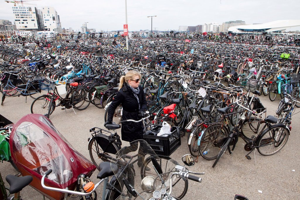 bicycle parking in amsterdam : Stock Photo