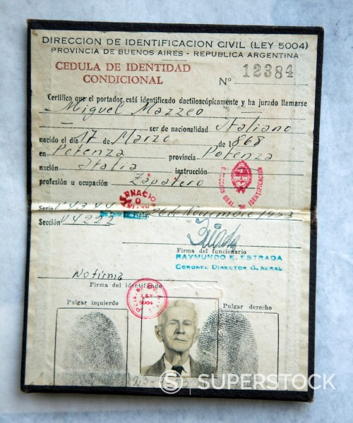 Old identity card documents with photograph from Argentina : Stock Photo
