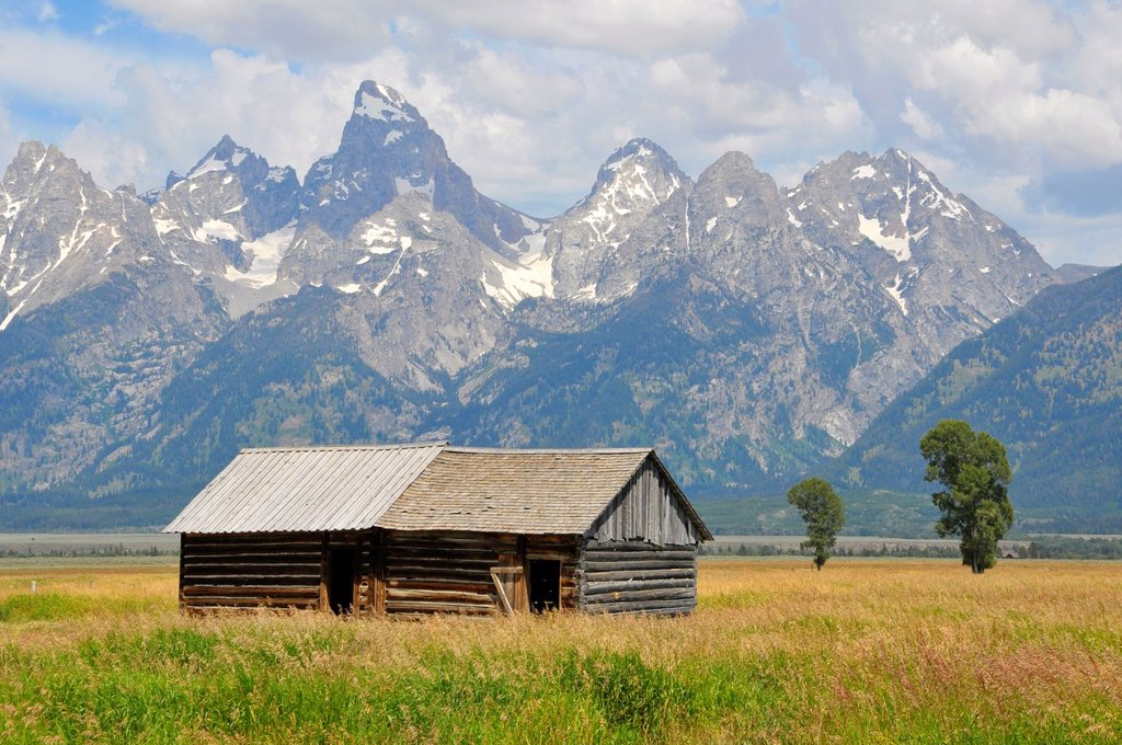 Mormon Row Grand Teton National Park Wyoming WY United States : Stock Photo