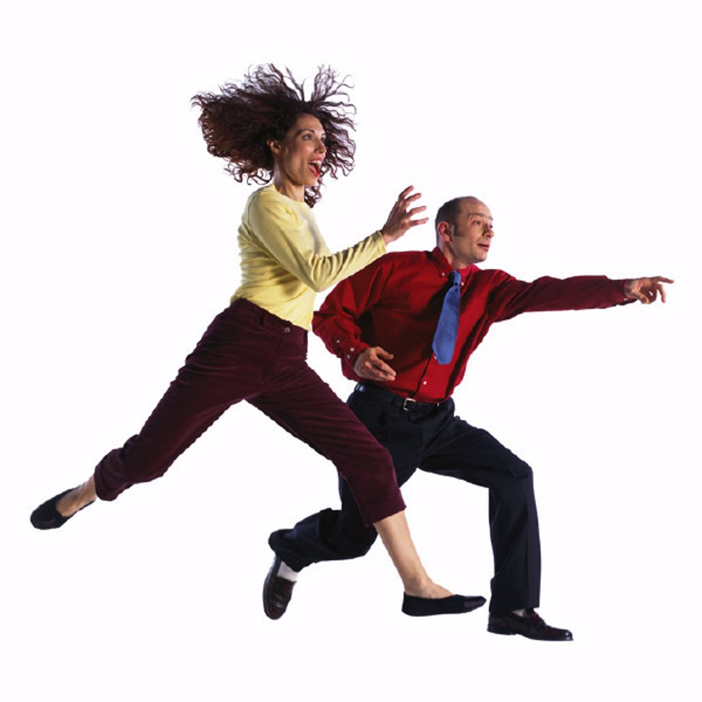Man and woman jumping : Stock Photo
