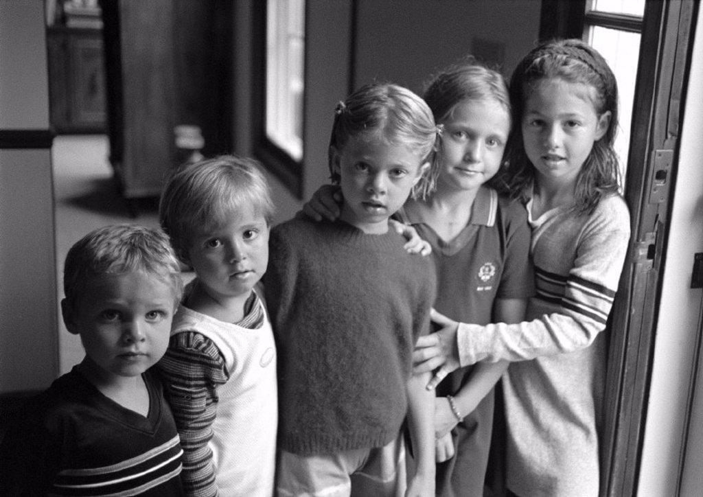 Five children side by side, portrait, b&w : Stock Photo