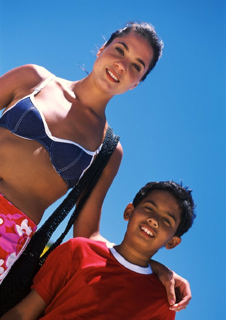 Stock Photo: 1569R-114030 Woman and boy, low angle view, close-up