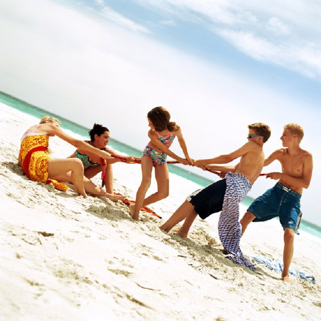 Stock Photo: 1569R-117080 Group of people playing tug of war on the beach