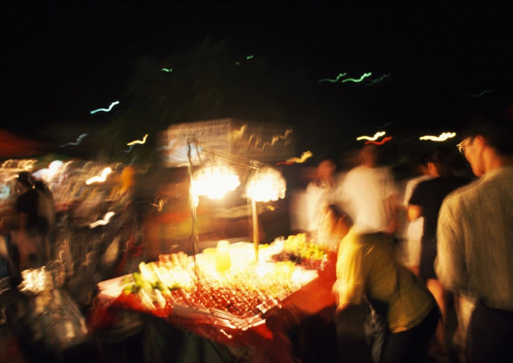 Fruit stall in street at night : Stock Photo